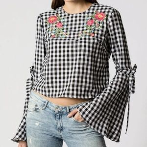 Haute Rogue Gingham Bell Sleeve Floral Blouse